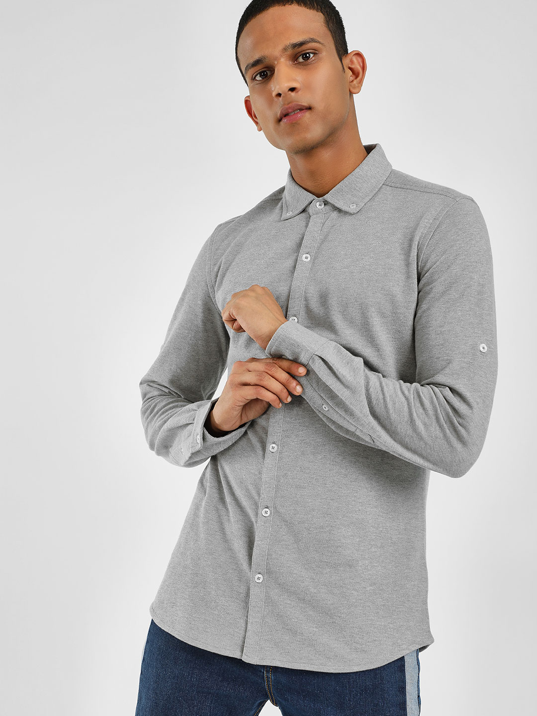 PostFold Grey Casual Pique Knitted Shirt 1