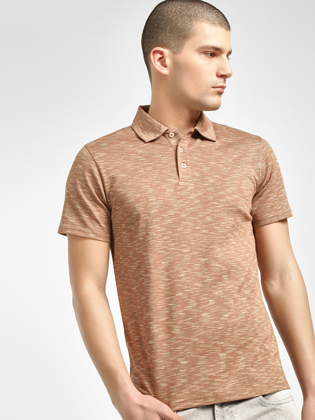 PostFold Brown Melange Casual Polo Shirt 1