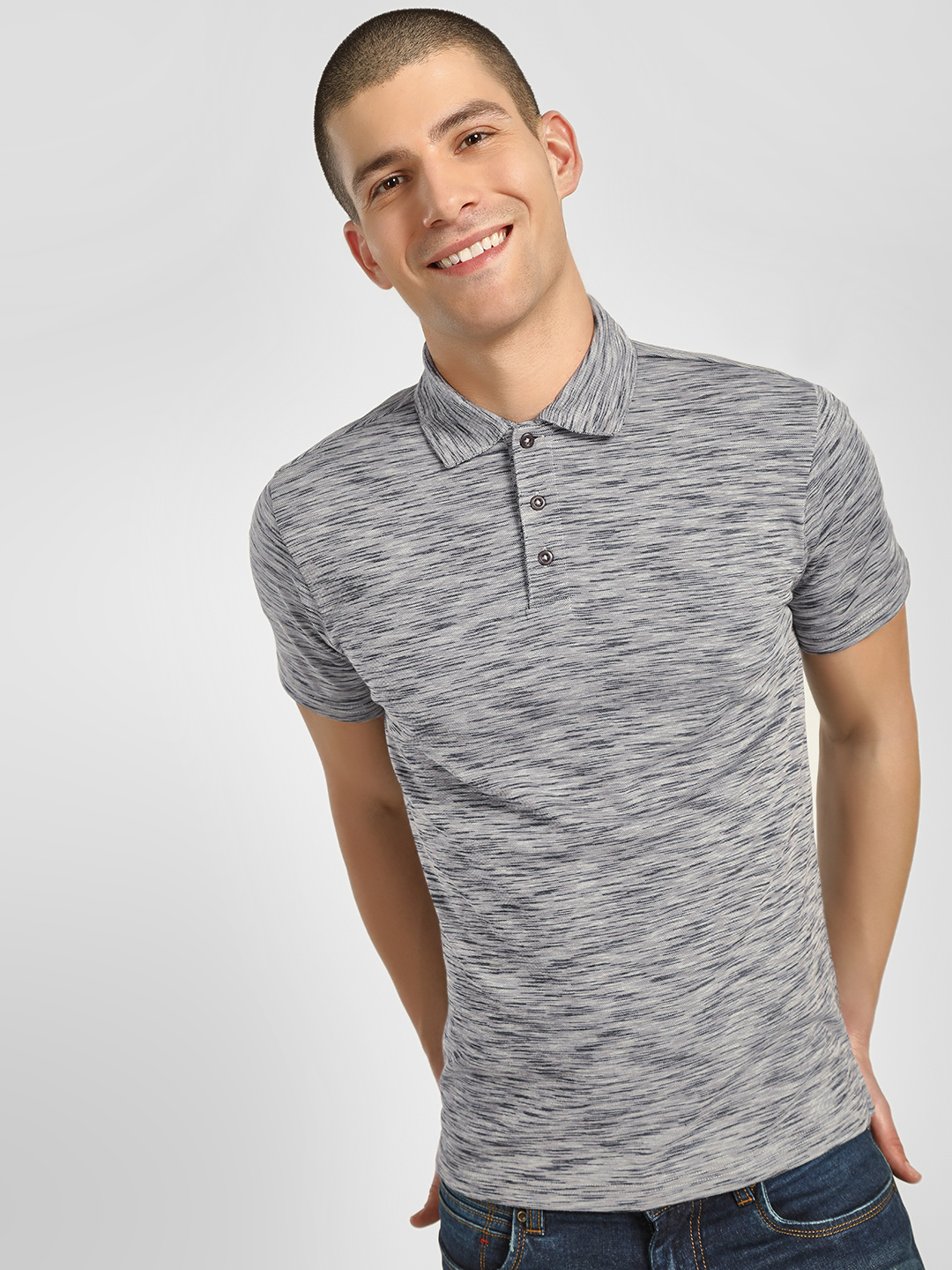 PostFold Grey Melange Casual Polo Shirt 1