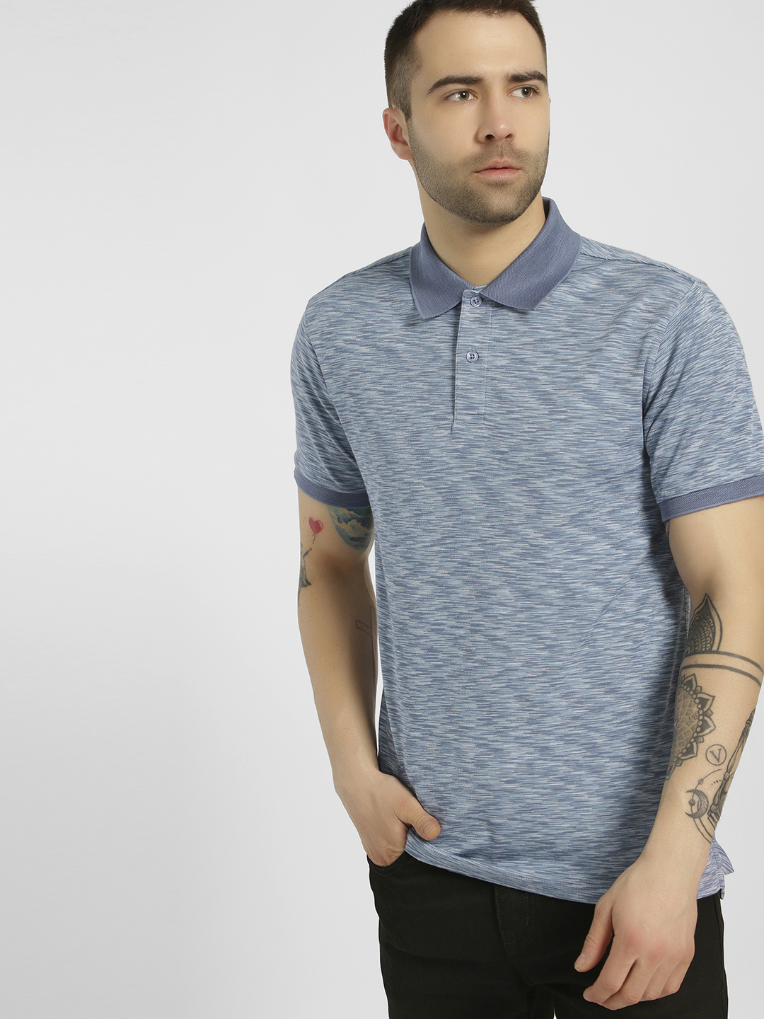 PostFold Blue Melange Casual Polo Shirt 1