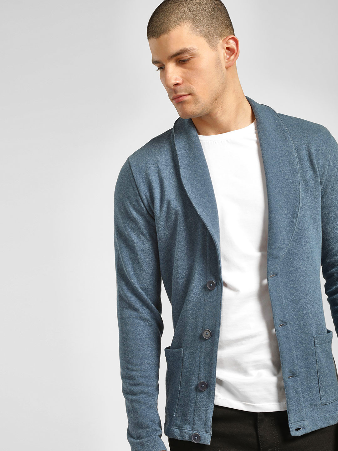 PostFold Blue Casual Knitted Cardigan 1