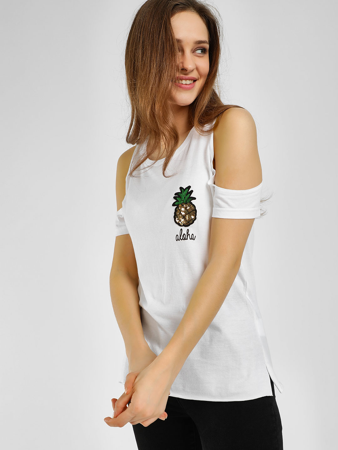 Evah London White Pineapple Patch Cold Shoulder T-Shirt 1