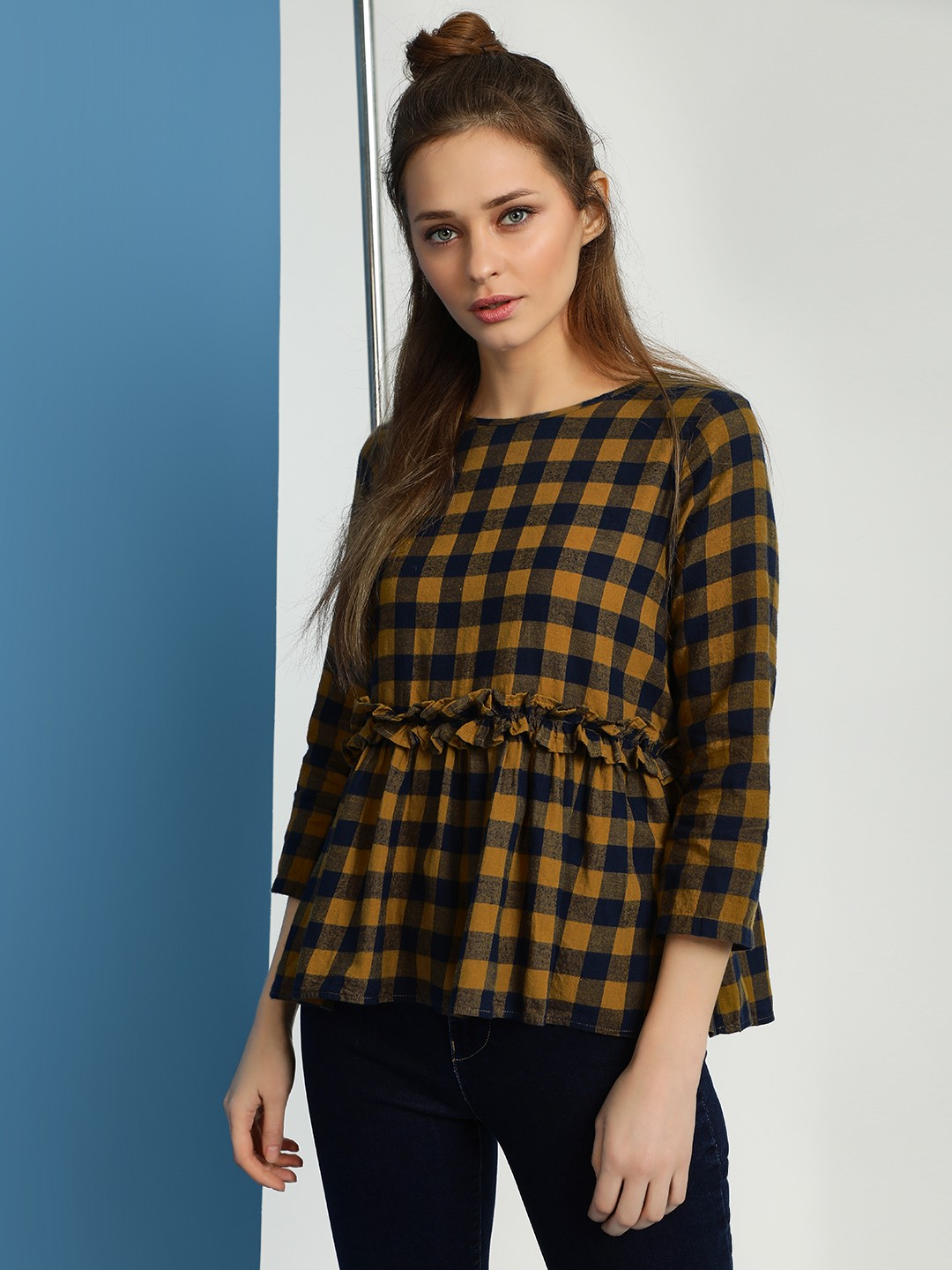 Evah London Multi Check Smocked Peplum Top 1