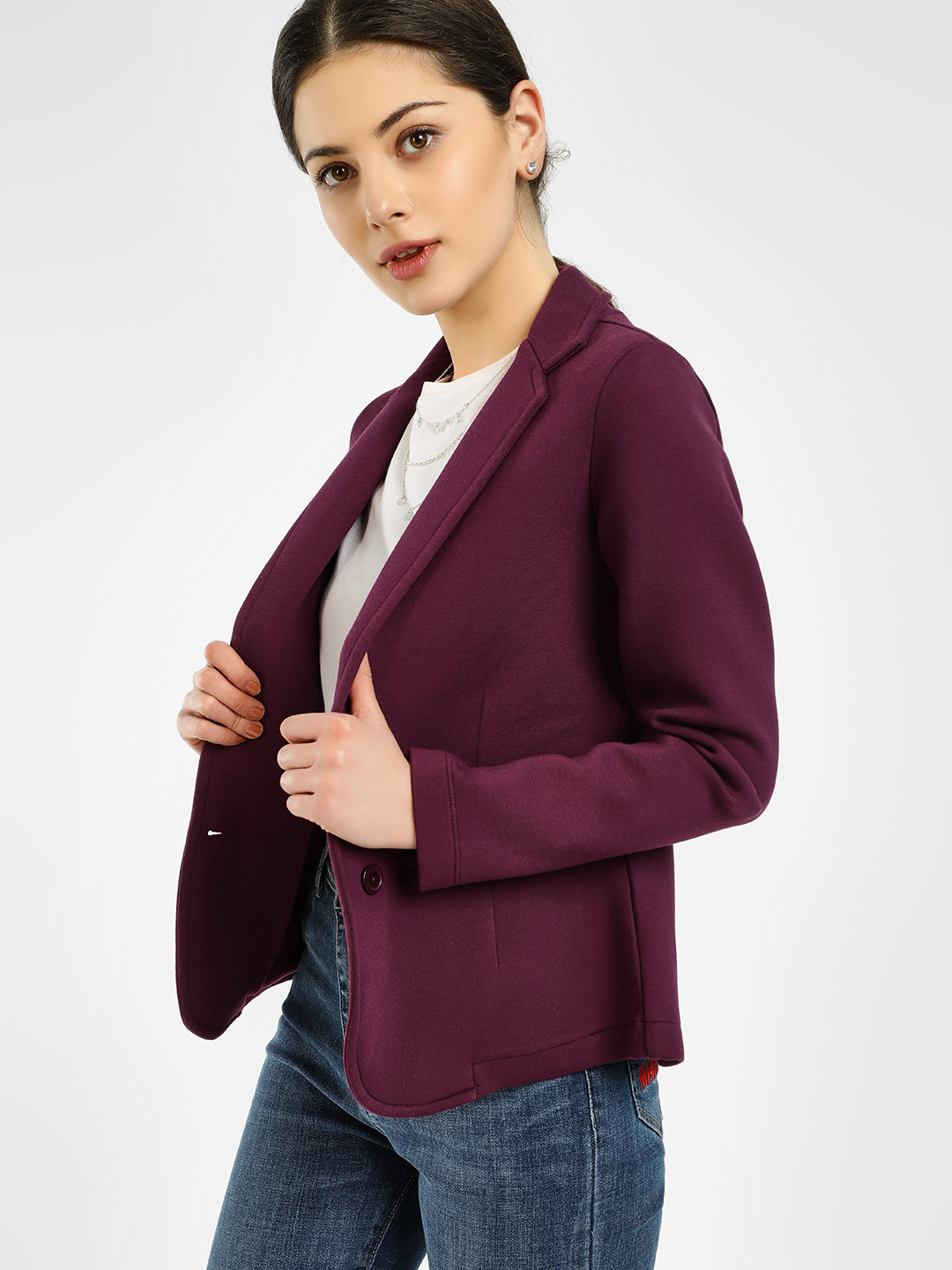 PostFold PLUM Long Sleeve Knitted Blazer 1
