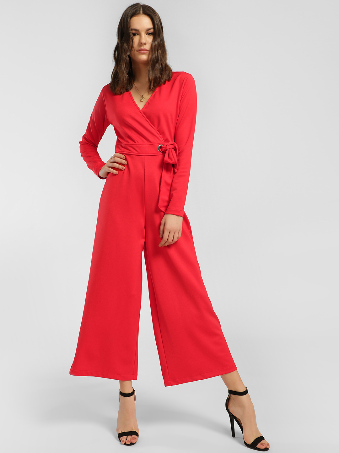 KOOVS Red Belted Wrap Cropped Jumpsuit 1