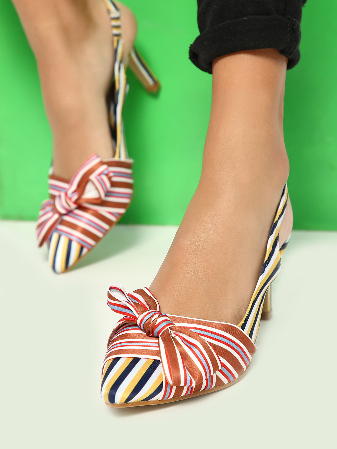 Intoto Multi Multi Stripe Bow Detail Heeled Sandals 1