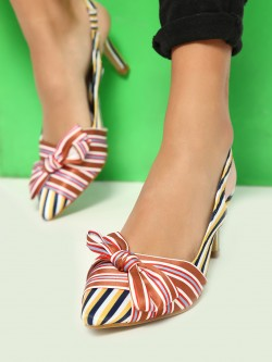 Intoto Multi Stripe Bow Detail Heeled Sandals