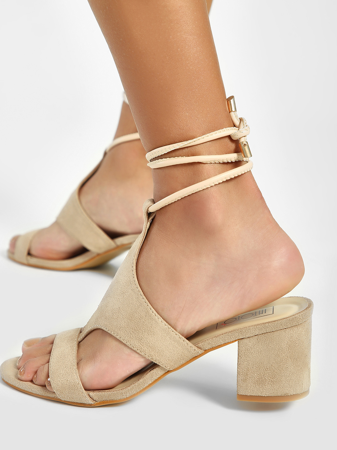 Intoto Nude T-Strap Detail Block Heeled Sandals 1