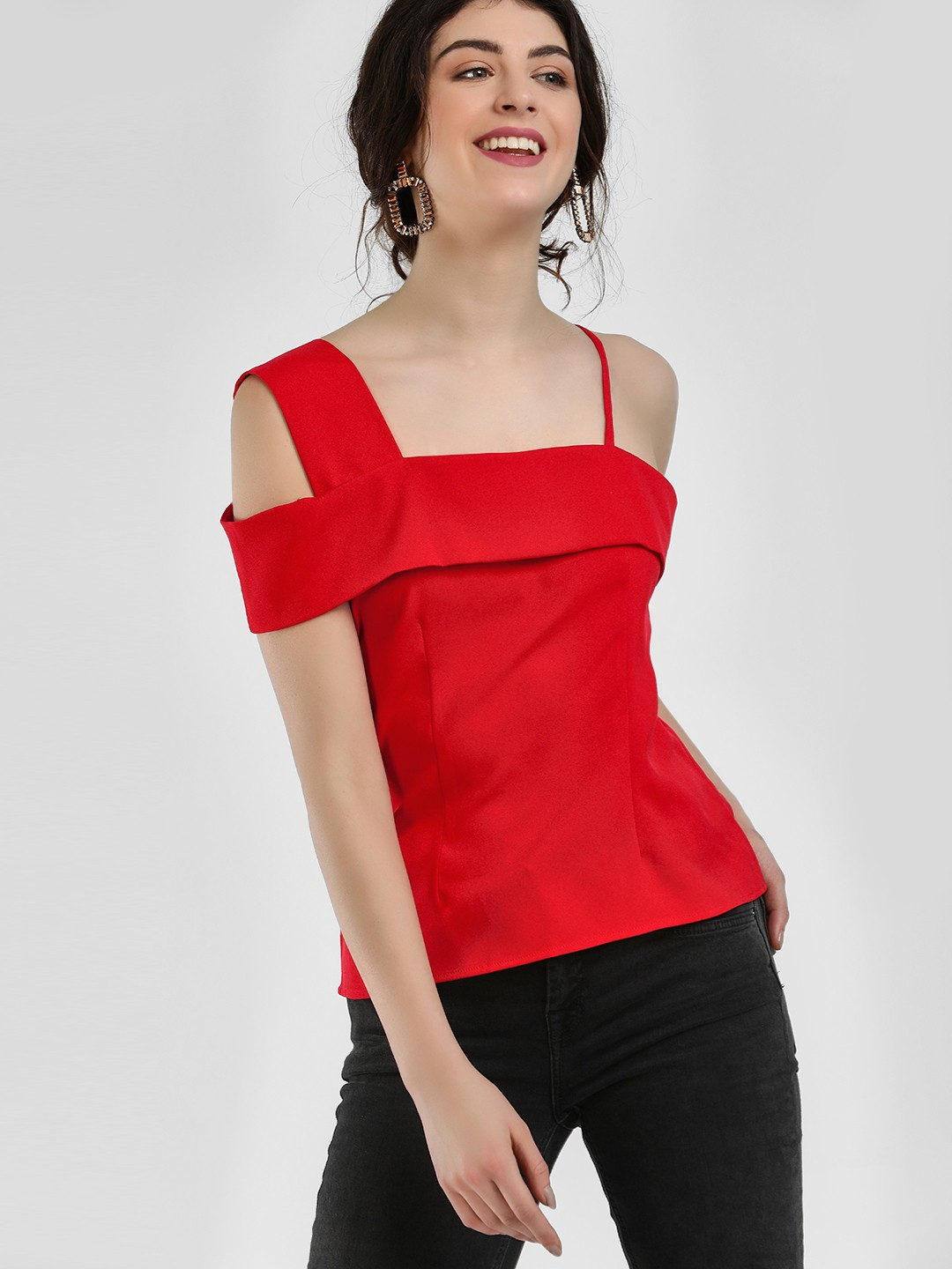 Ri-Dress Red One Shoulder Strappy Blouse 1