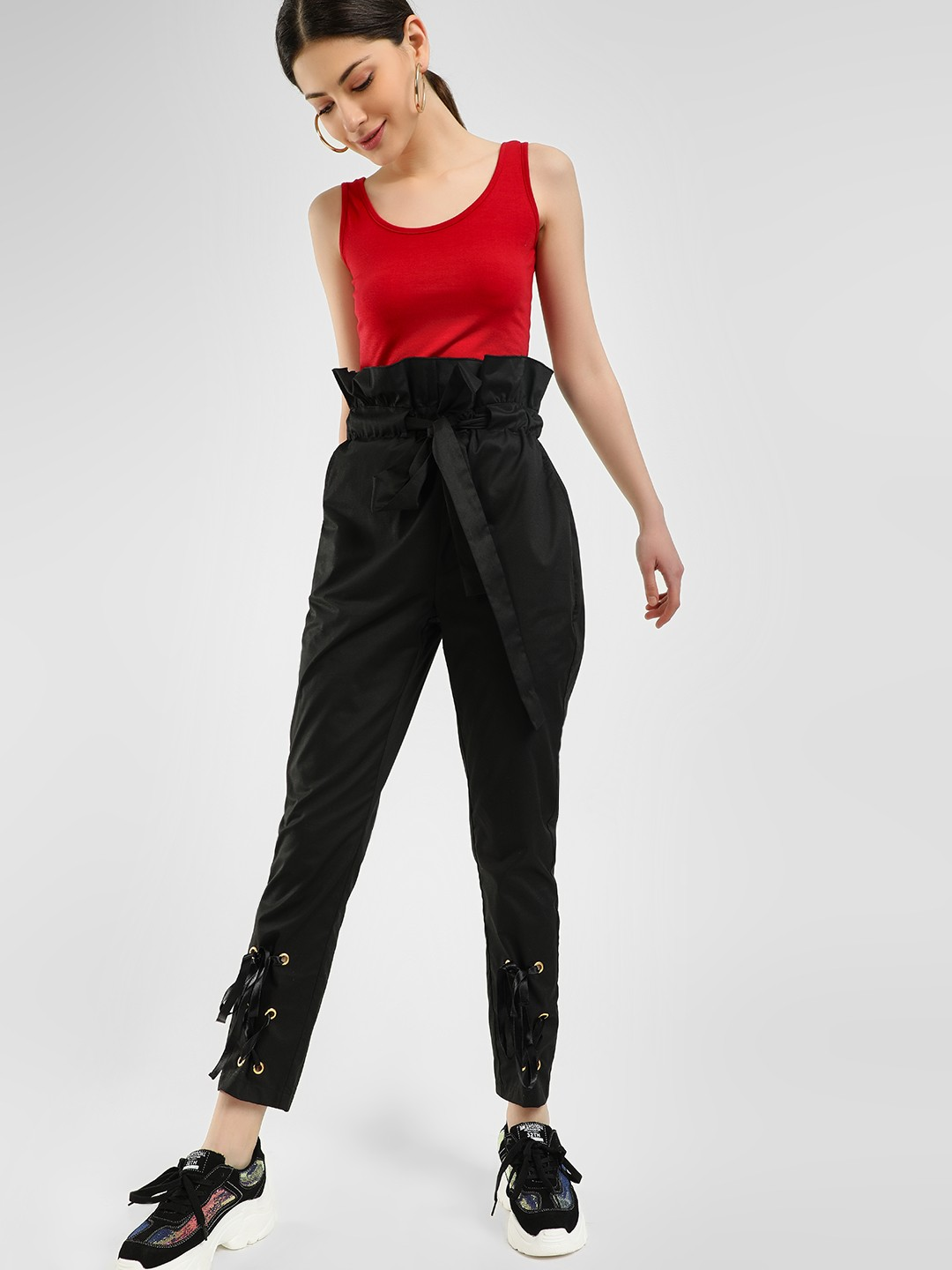 Ri-Dress Black Eyelet Detail Paperbag Waist Trousers 1