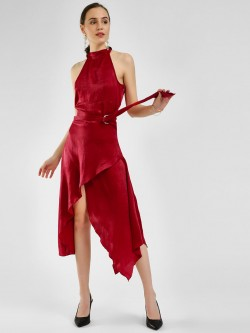 KOOVS Halter Neck Asymmetric Dress