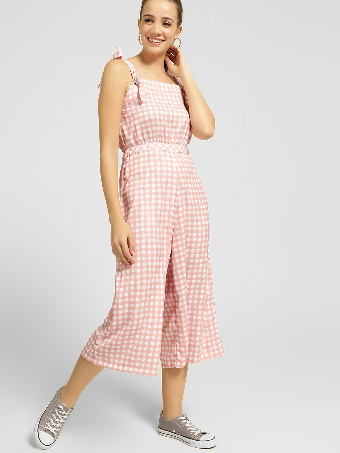 KOOVS Multi Gingham Check Sleeveless Jumpsuit 1