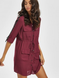 KOOVS Contrast Side Tape Shirt Dress