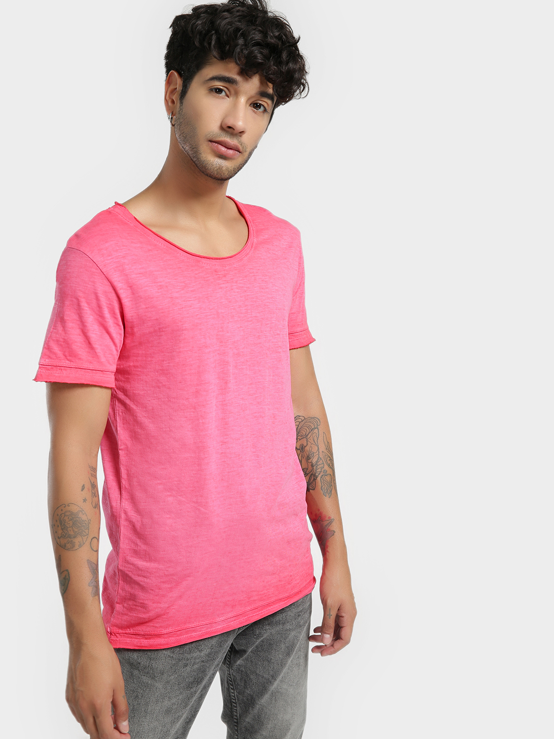 KOOVS Pink Pigment Wash Scoop Neck T-Shirt 1