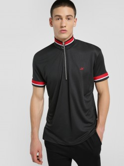 KOOVS Funnel Neck Zip-Up Polo Shirt