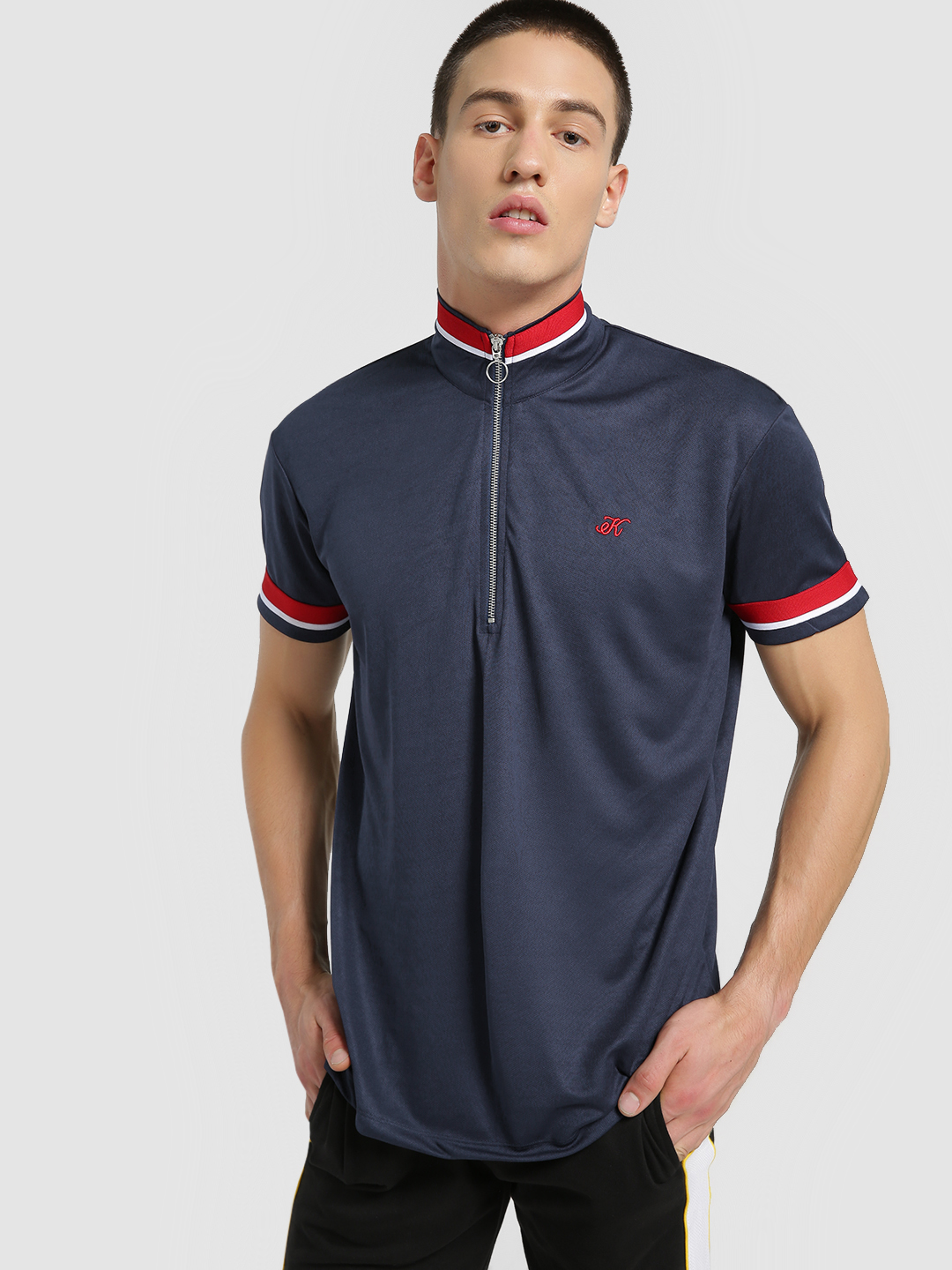 KOOVS Navy Funnel Neck Zip-Up Polo Shirt 1