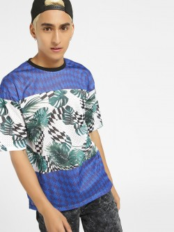 KOOVS Checkerboard Palm Print Mesh T-Shirt
