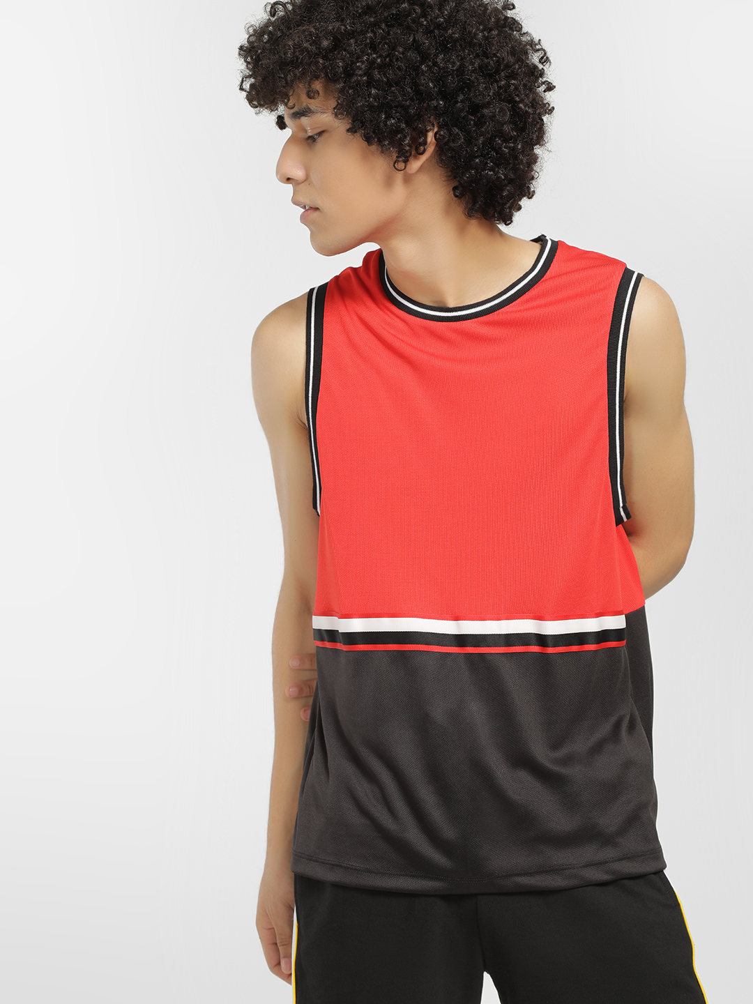 KOOVS Red Colour Block Mesh Sports Vest 1