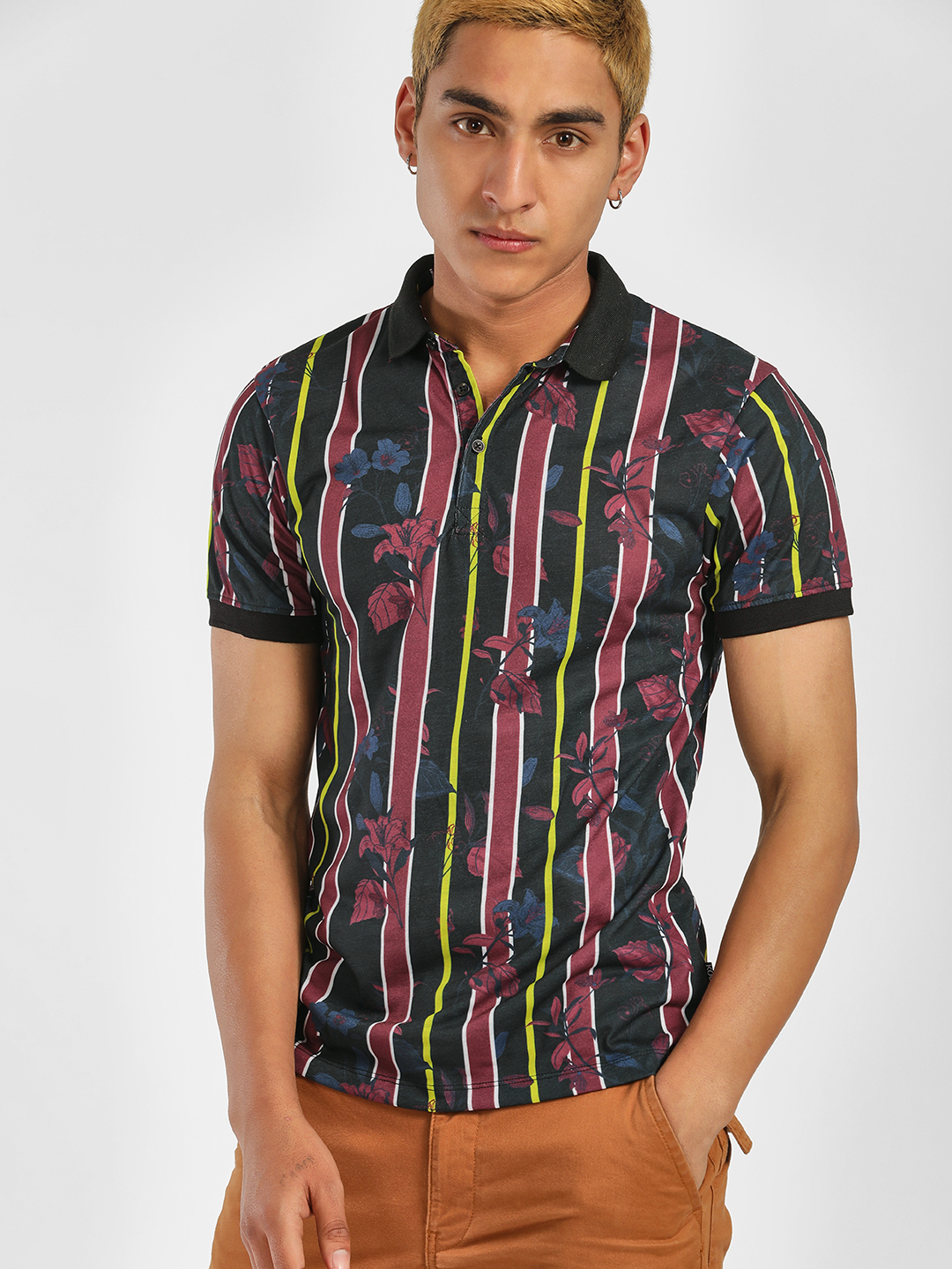 KOOVS Multi Stripe Tropical Print Polo Shirt 1
