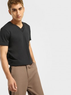 KOOVS Basic Double V-Neck T-Shirt