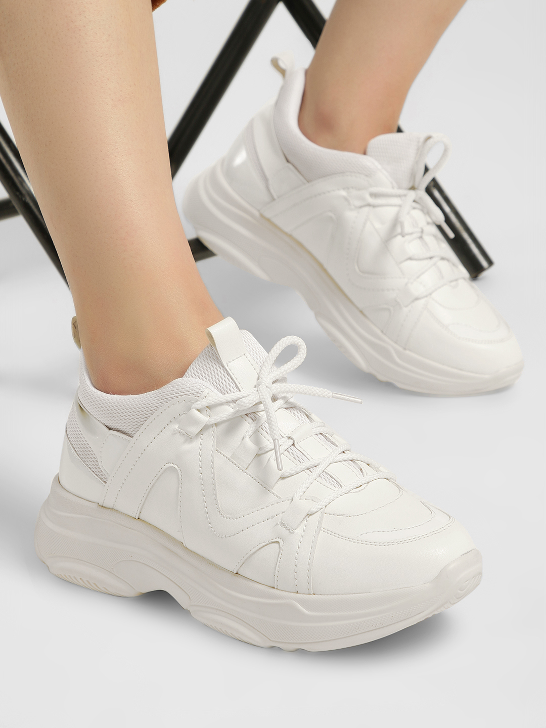 KOOVS White Contrast Panel Lace-Up Trainers 1