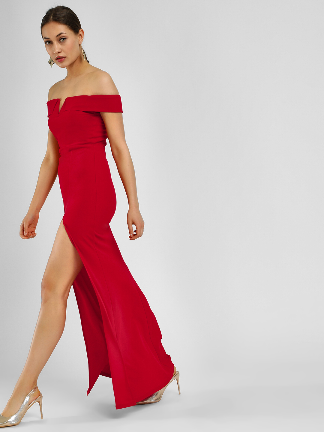 Ax Paris Red Off-Shoulder Maxi Dress 1