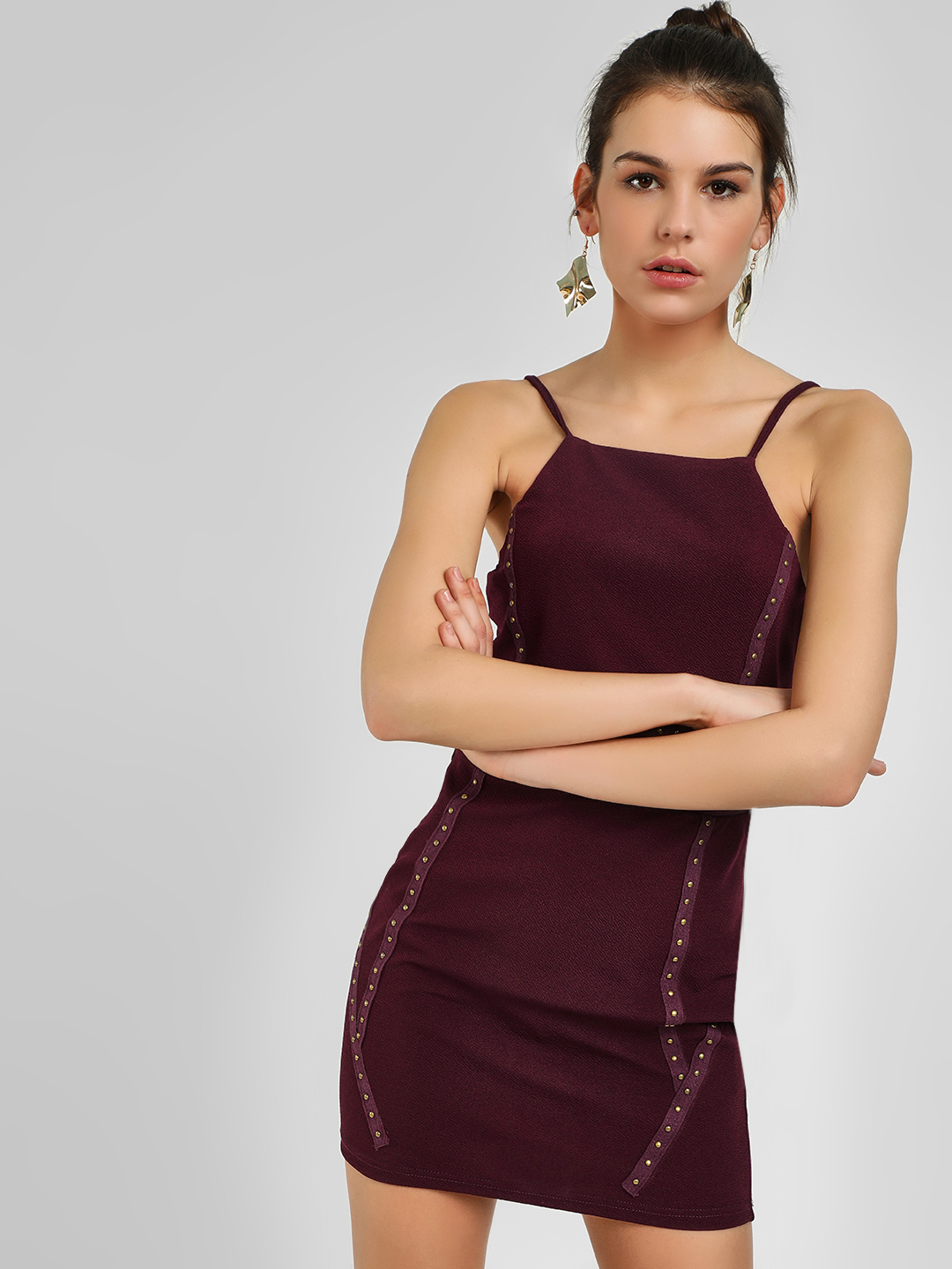 Ax Paris PLUM Studded Cami Bodycon Dress 1