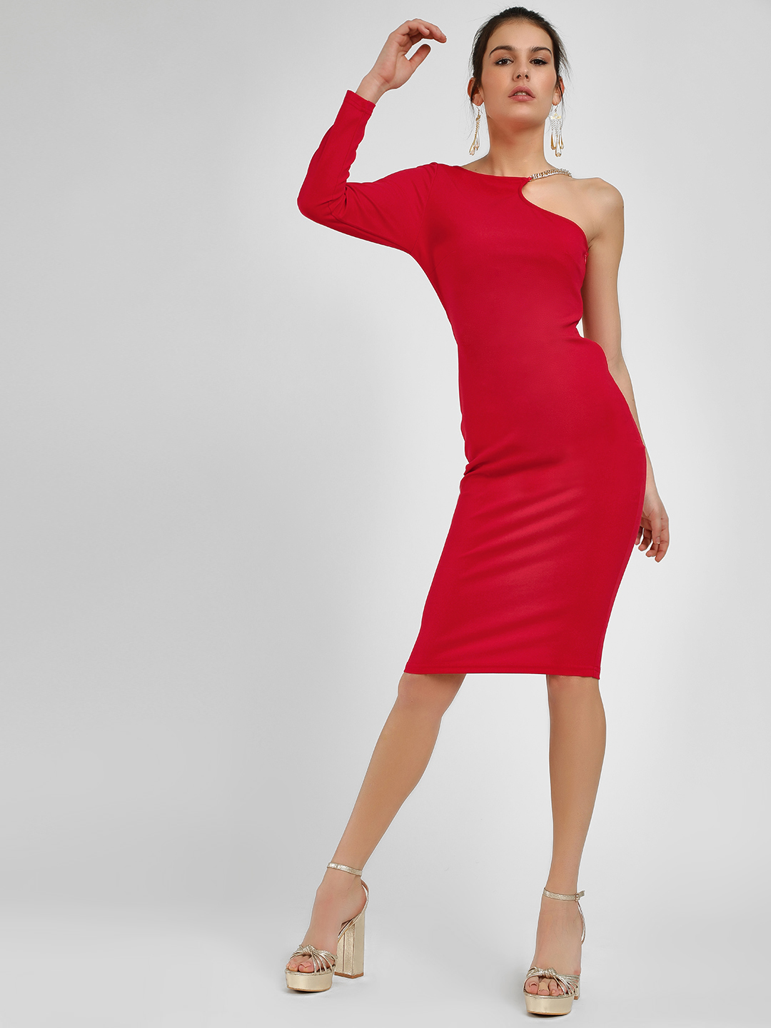 Ax Paris Red One Shoulder Bodycon Dress 1