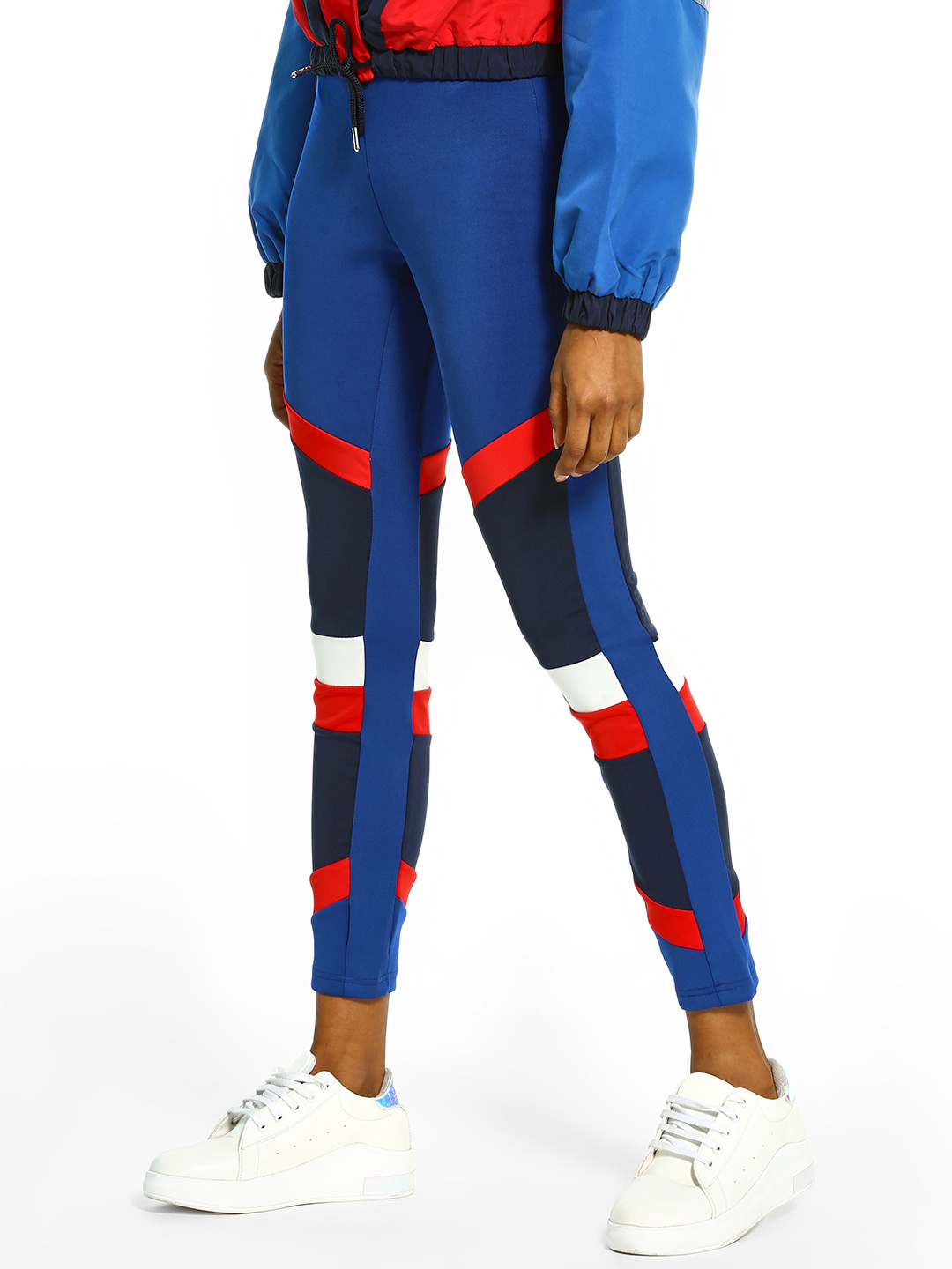 Bellfield Blue Colour Block Panelled Leggings 1