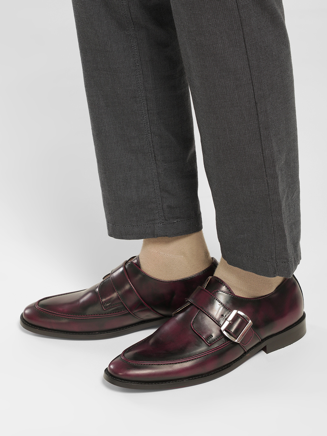 KOOVS Red Two-Tone Burnished Buckle Loafers 1