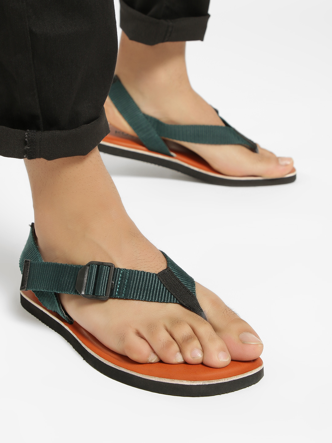 KOOVS Green Contrast Strap Hiker Sandals 1
