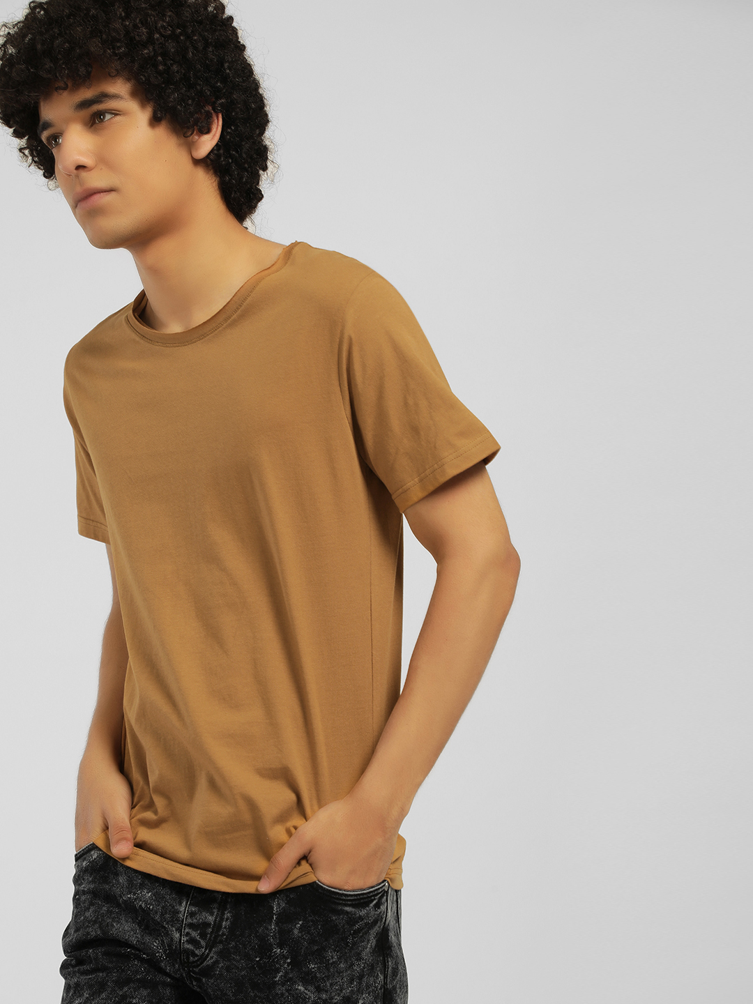 Blue Saint Brown Basic Raw Edge T-Shirt 1