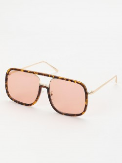 Sneak-a-Peek Leopard Frame Retro Sunglasses