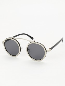 Sneak-a-Peek Metallic Frame Round Sunglasses