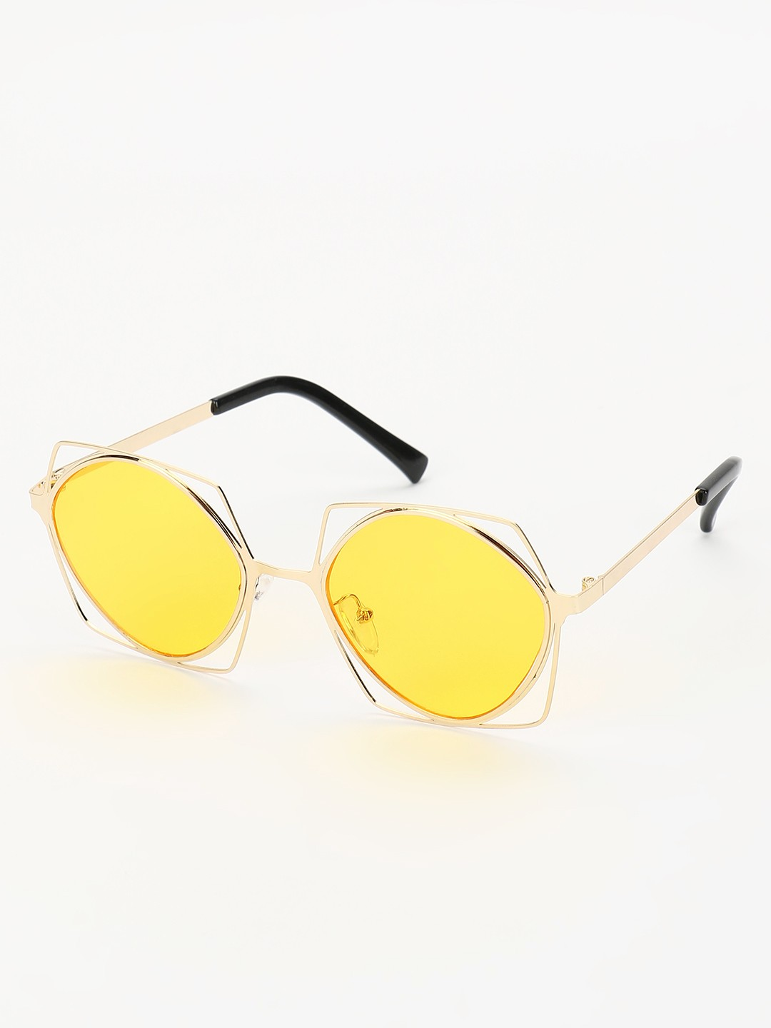Sneak-a-Peek Yellow Coloured Lens Retro Sunglasses 1