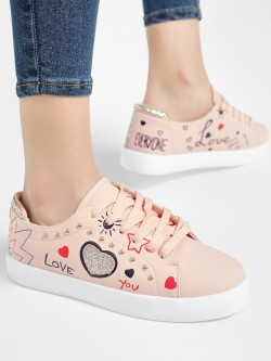 My Foot Couture Glitter Panel Studded Detail Sneakers