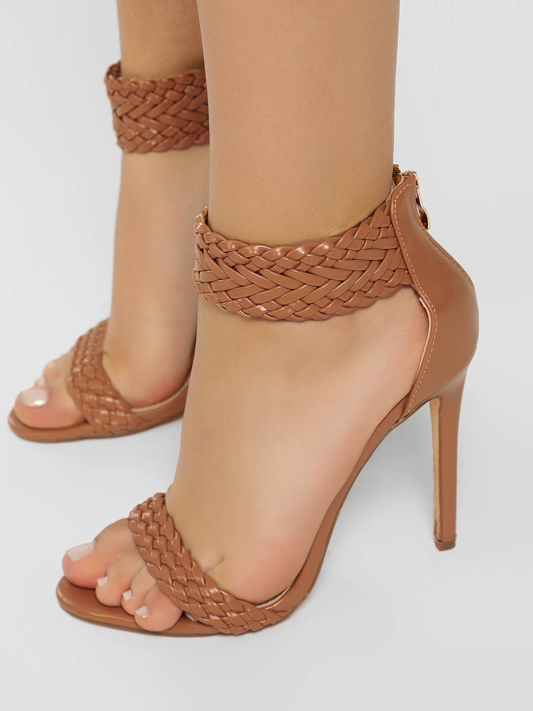 Sole Story Tan Braided Ankle Strap Heeled Sandals 1