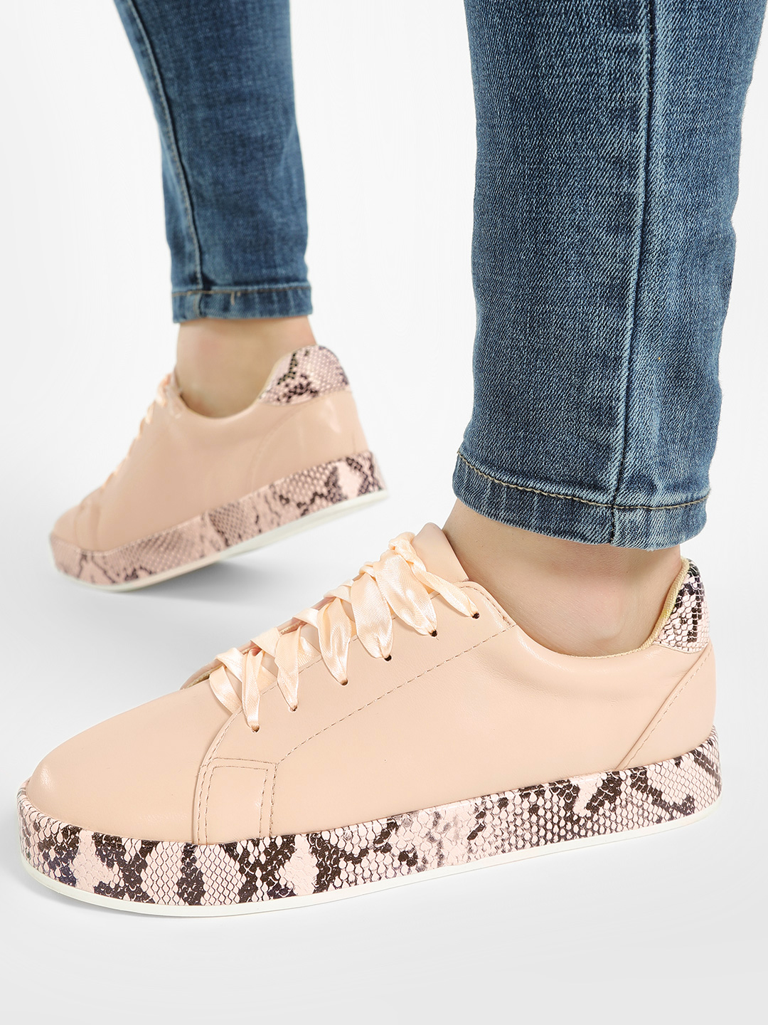 My Foot Couture Pink Snake Print Sole Detail Sneakers 1
