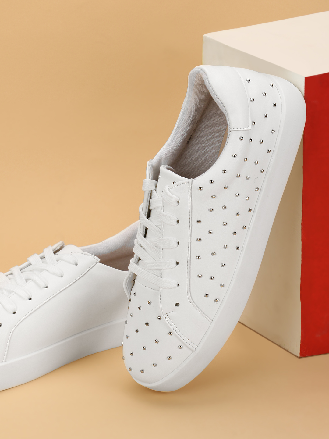 My Foot Couture White Studded Lace-Up Sneakers 1