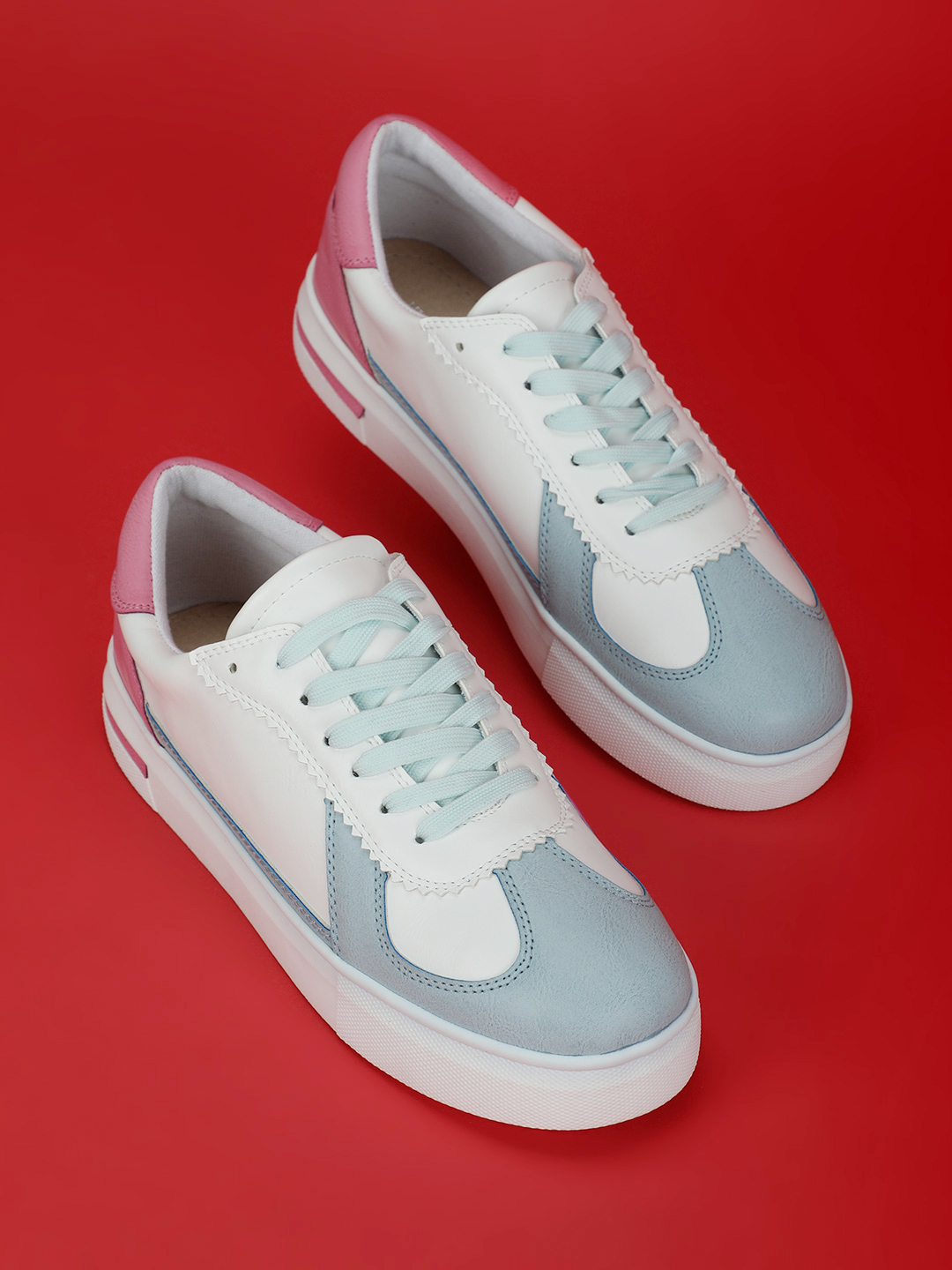 My Foot Couture Blue Colour Block Panel Sneakers 1