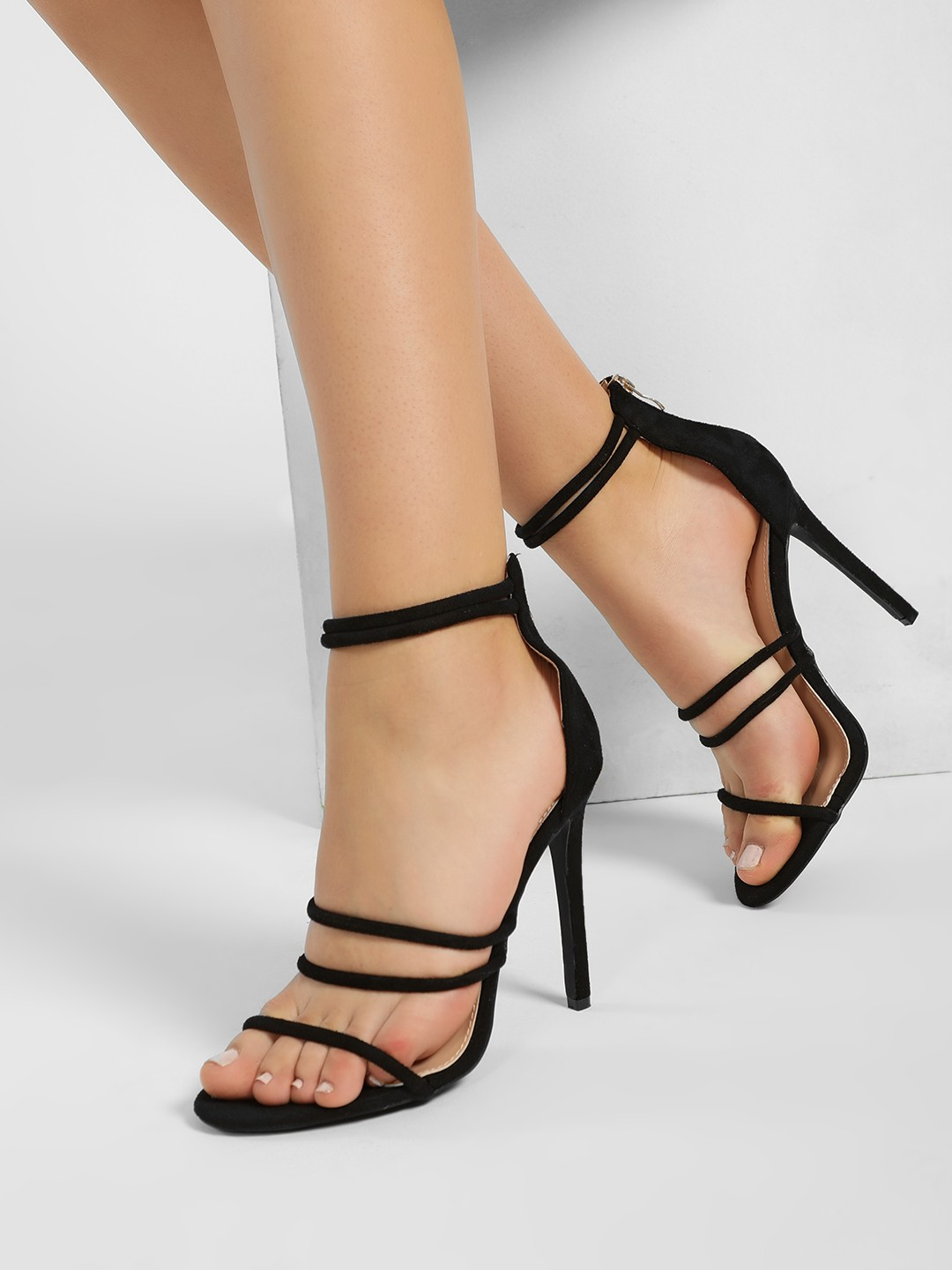 Sole Story Black Suede Multi Strap Heeled Sandals 1