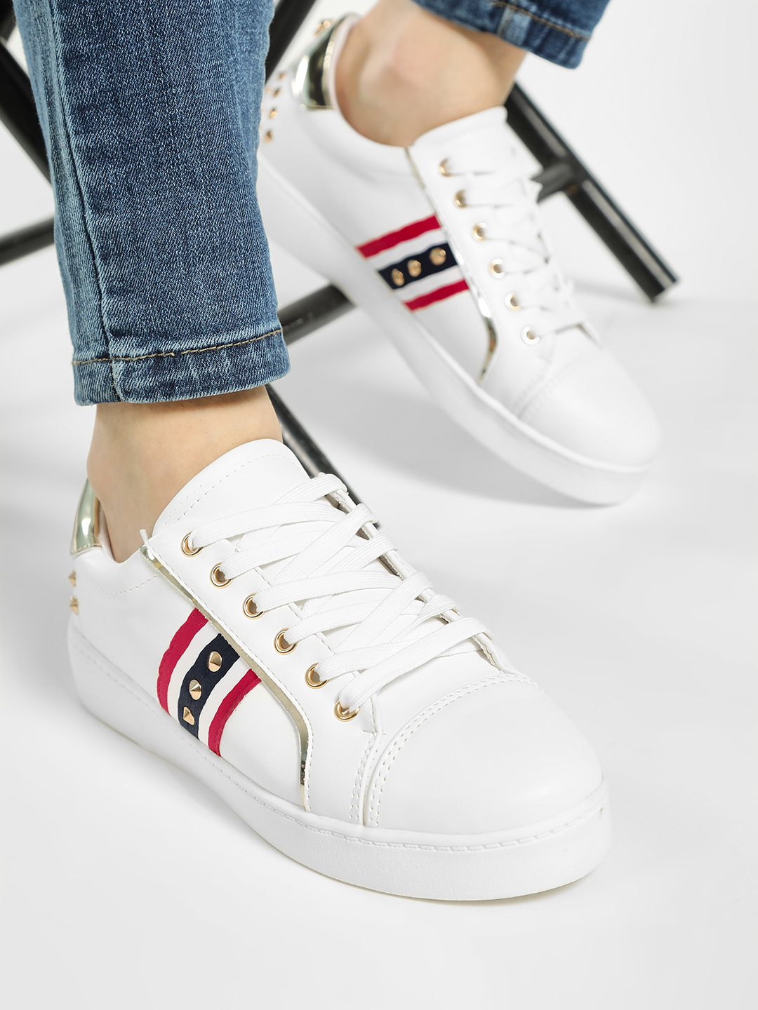 My Foot Couture White Contrast Panel Studded Sneakers 1