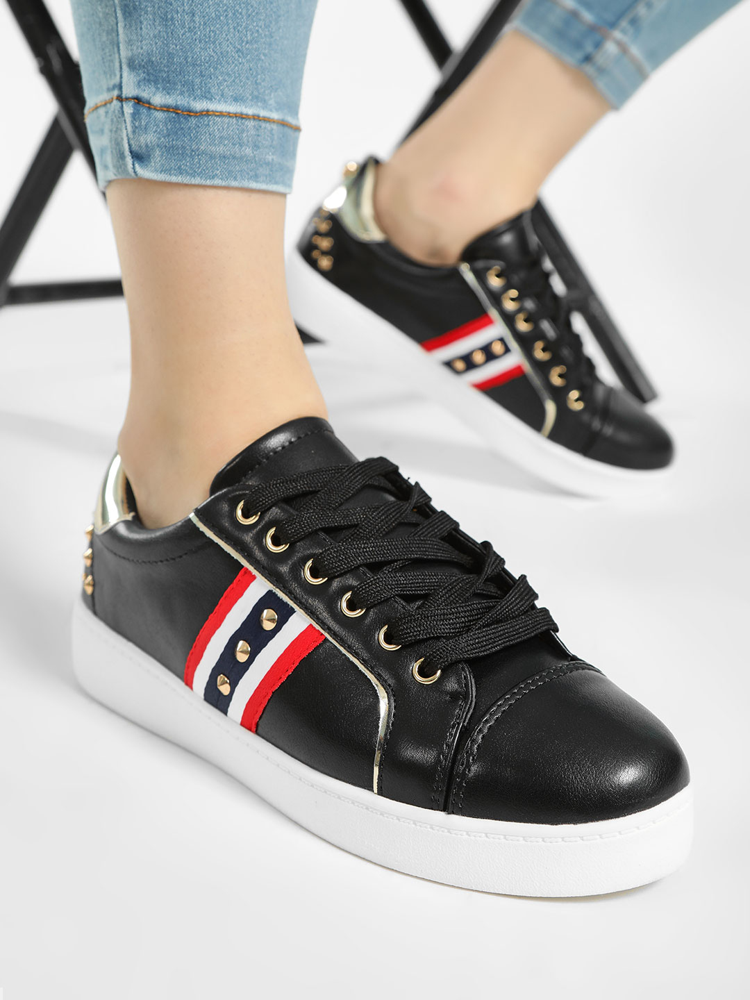 My Foot Couture Black Contrast Panel Studded Sneakers 1