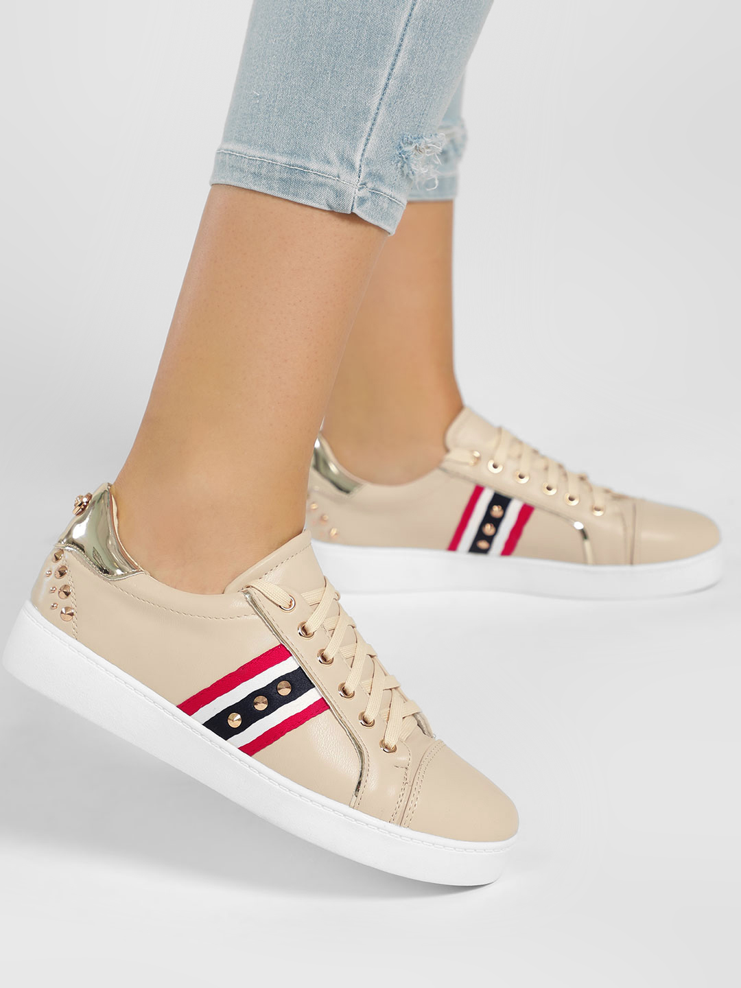 My Foot Couture Beige Contrast Panel Studded Sneakers 1