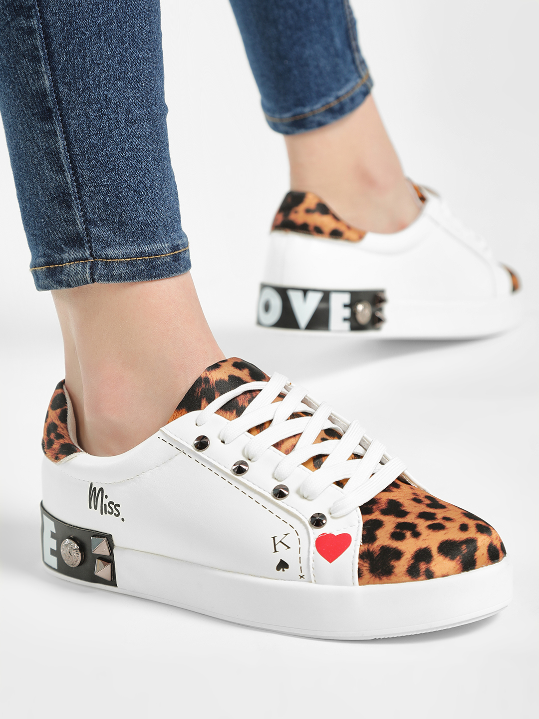 My Foot Couture White Studded Leopard Print Panel Sneakers 1