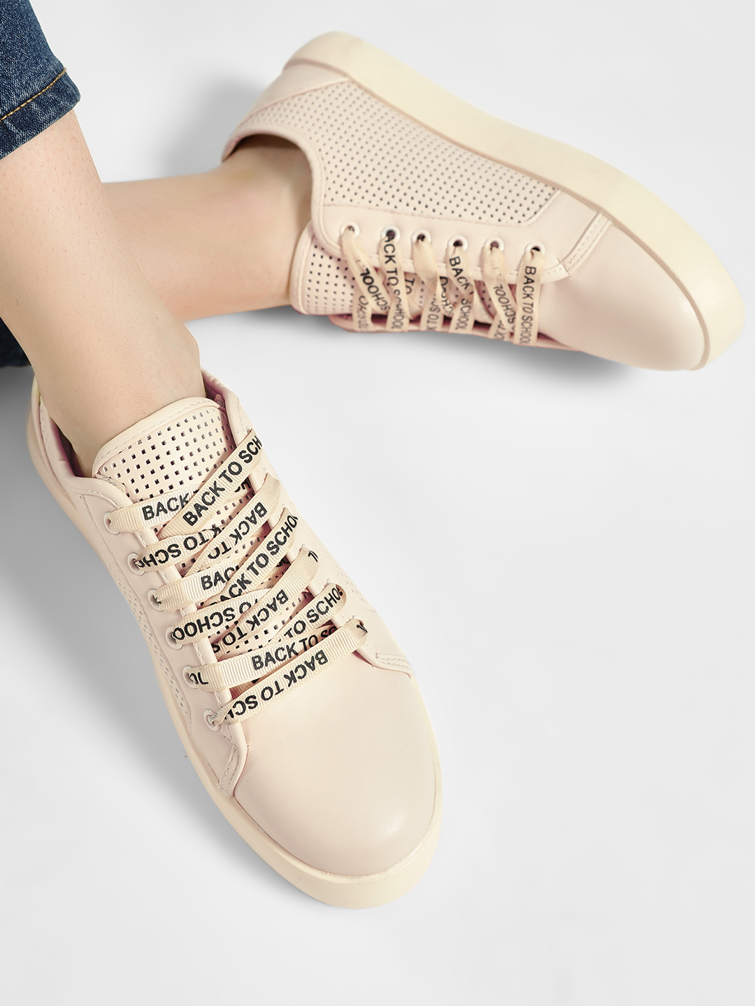 My Foot Couture Beige Perforated Printed Lace Up Sneakers 1
