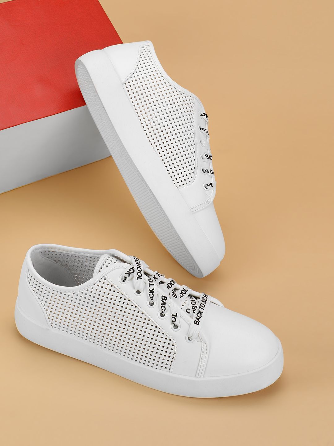 My Foot Couture White Perforated Printed Lace Up Sneakers 1