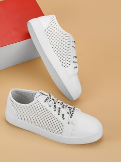 My Foot Couture Perforated Printed Lace Up Sneakers