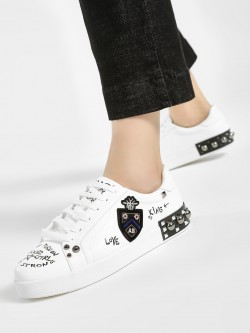 My Foot Couture Text Print Patchwork Detail Sneakers