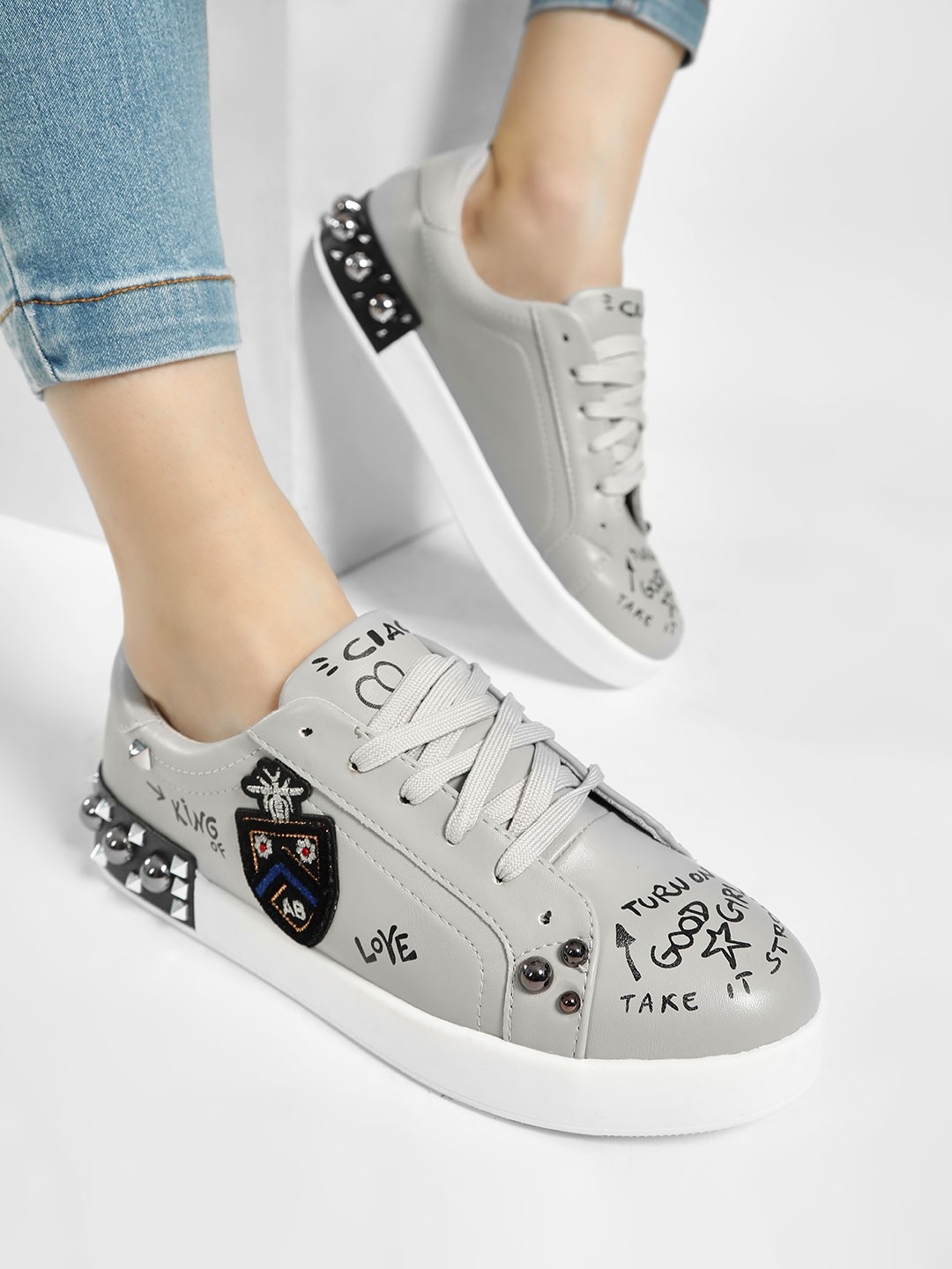 My Foot Couture Grey Text Print Patchwork Detail Sneakers 1